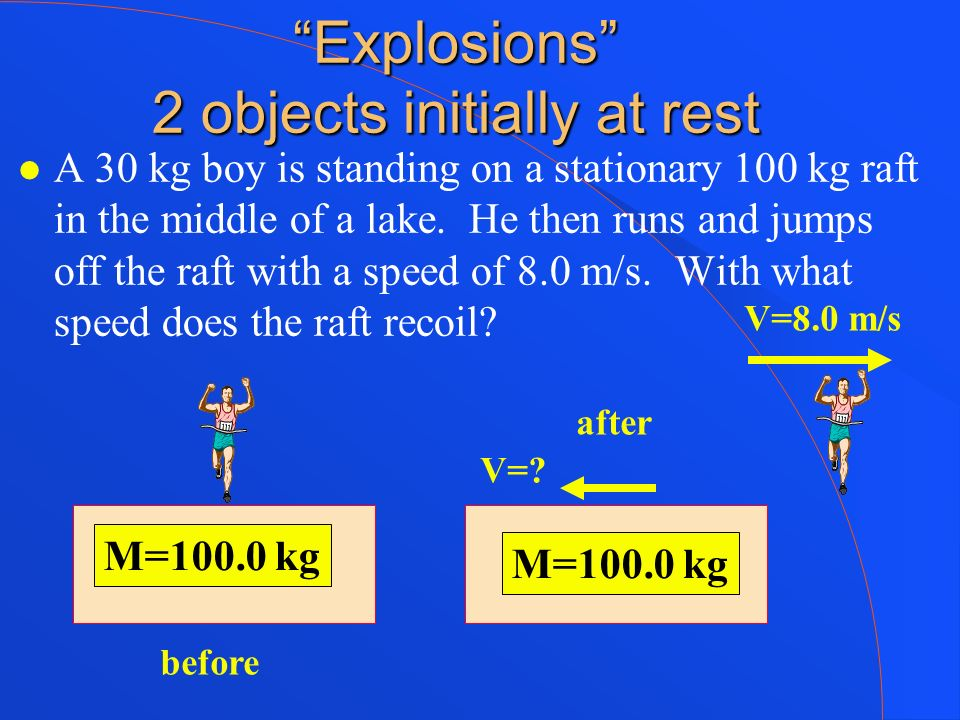 Explosions 2 objects initially at rest A 30 kg boy is standing on a stationary 100 kg raft in the middle of a lake. He then runs and jumps off the raf