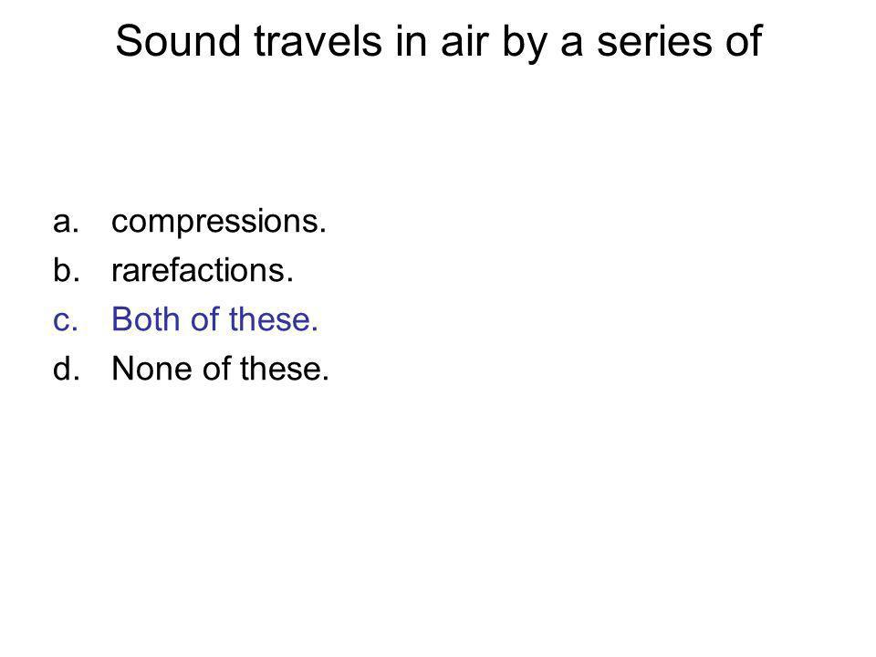 Sound travels in air by a series of a.compressions. b.rarefactions. c.Both of these. d.None of these.