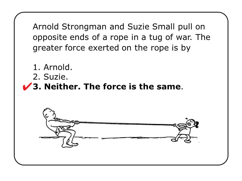 1. Arnold. 2. Suzie. 3. Neither. The force is the same. Arnold Strongman and Suzie Small pull on opposite ends of a rope in a tug of war. The greater