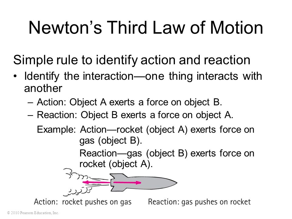 © 2010 Pearson Education, Inc. Newtons Third Law of Motion Simple rule to identify action and reaction Identify the interactionone thing interacts wit