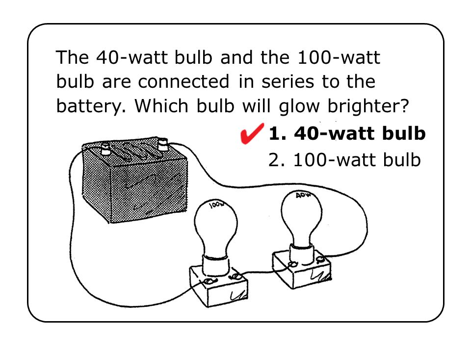 The 40-watt bulb and the 100-watt bulb are connected in series to the battery. Which bulb will glow brighter?