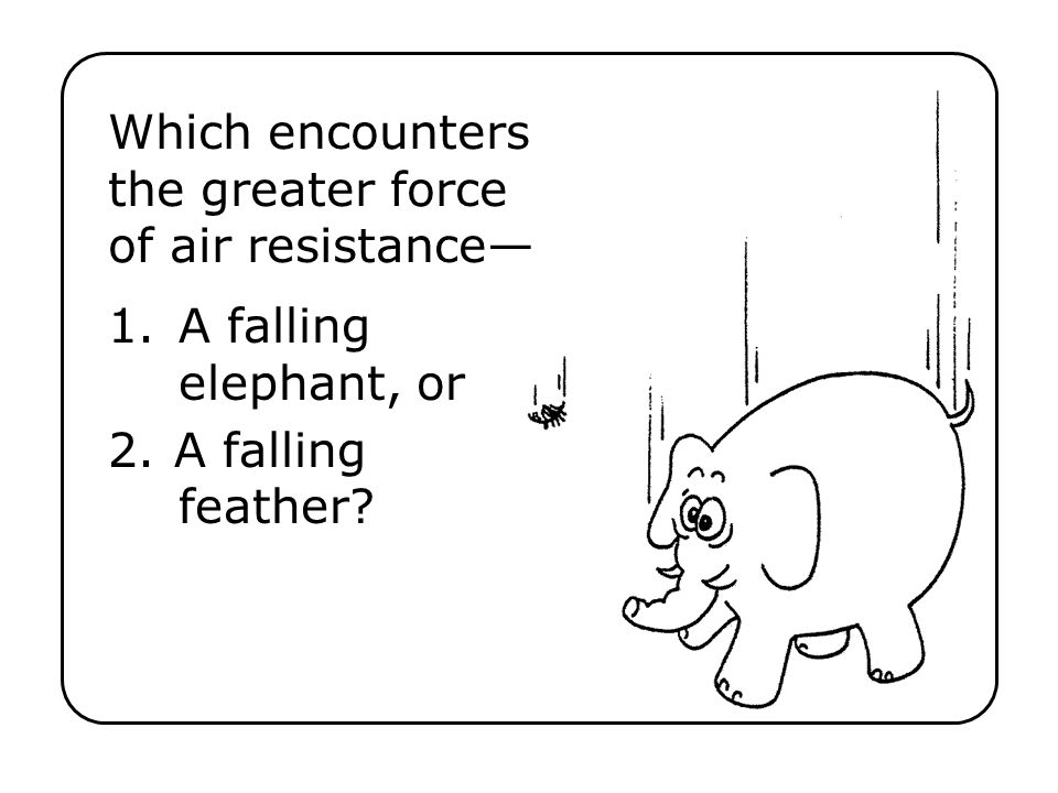 1.A falling elephant, or 2.A falling feather? Which encounters the greater force of air resistance