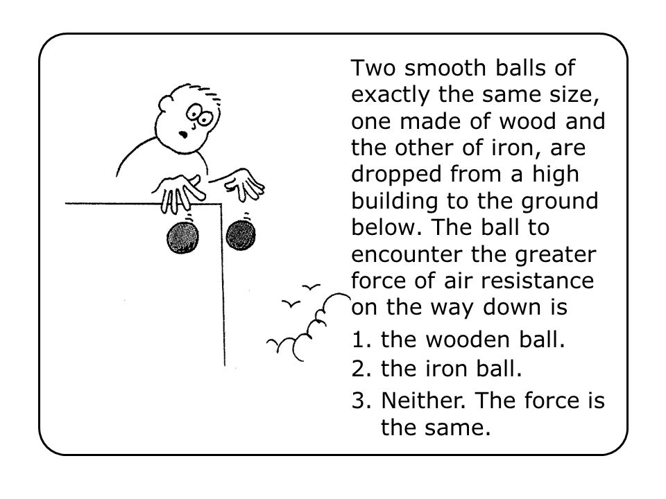 Two smooth balls of exactly the same size, one made of wood and the other of iron, are dropped from a high building to the ground below. The ball to e