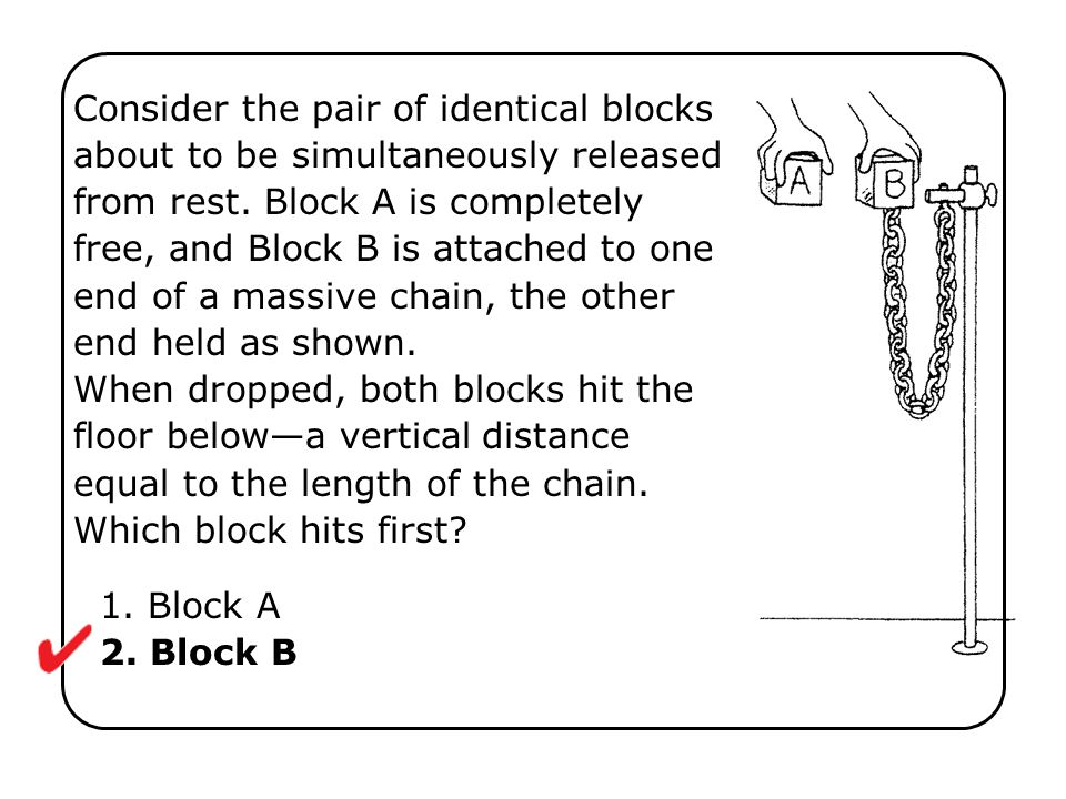 Consider the pair of identical blocks about to be simultaneously released from rest. Block A is completely free, and Block B is attached to one end of