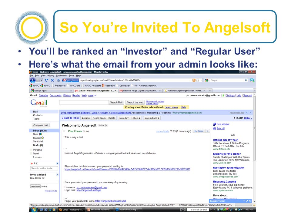 So Youre Invited To Angelsoft Youll be ranked an Investor and Regular User Heres what the email from your admin looks like: