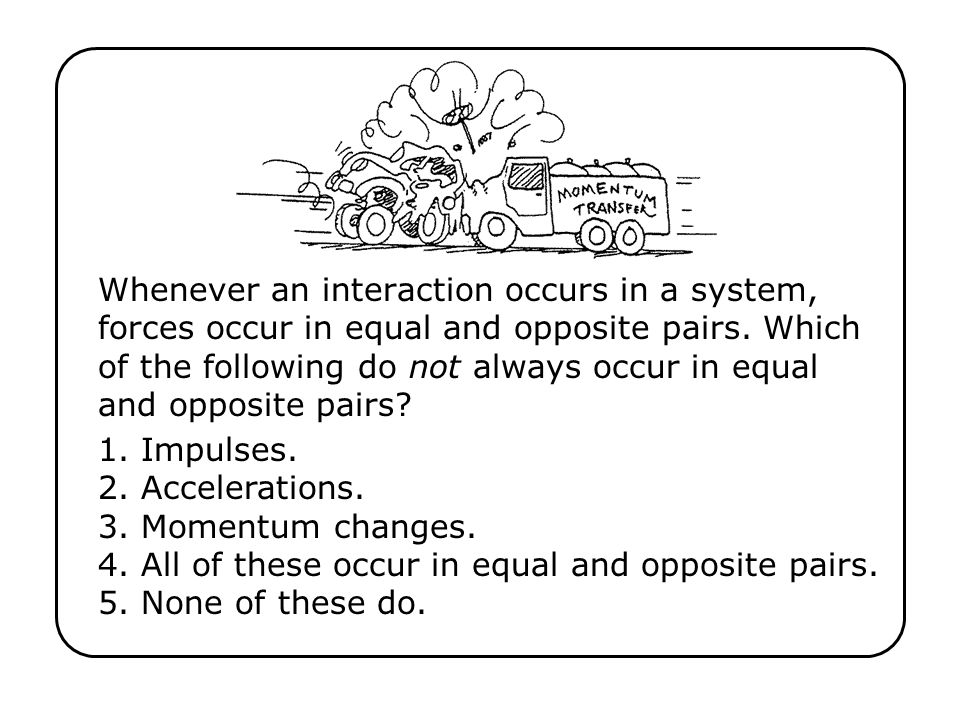 Whenever an interaction occurs in a system, forces occur in equal and opposite pairs.