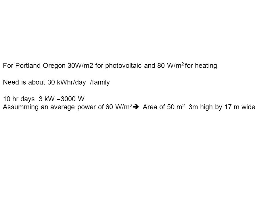 For Portland Oregon 30W/m2 for photovoltaic and 80 W/m 2 for heating Need is about 30 kWhr/day /family 10 hr days 3 kW =3000 W Assumming an average power of 60 W/m 2 Area of 50 m 2 3m high by 17 m wide