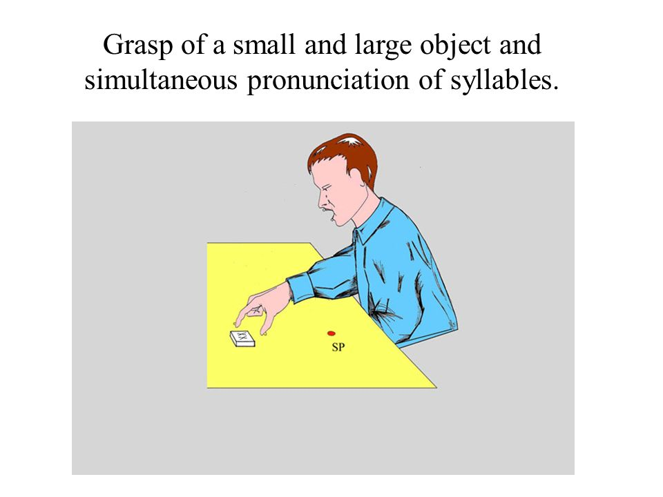 Grasp of a small and large object and simultaneous pronunciation of syllables.