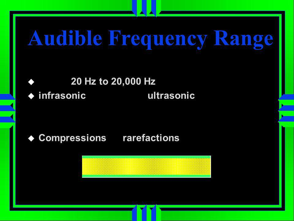 20 Hz to 20,000 Hz infrasonic ultrasonic Compressions rarefactions Audible Frequency Range