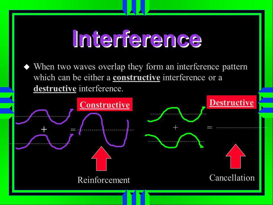 Interference When two waves overlap they form an interference pattern which can be either a constructive interference or a destructive interference.