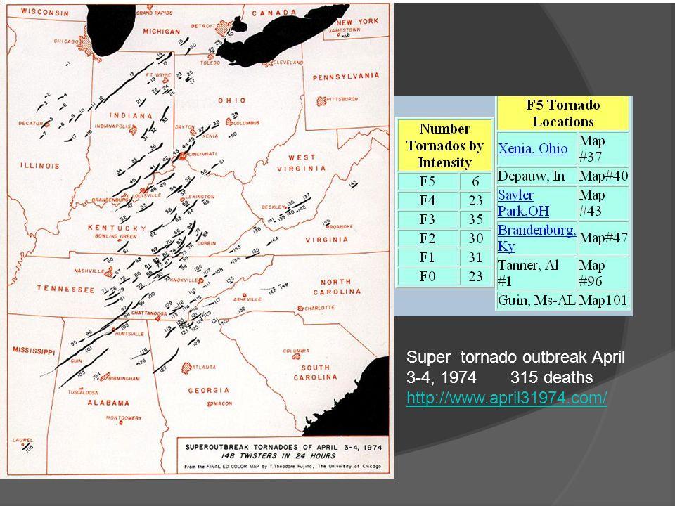 Super tornado outbreak April 3-4, 1974 315 deaths http://www.april31974.com/