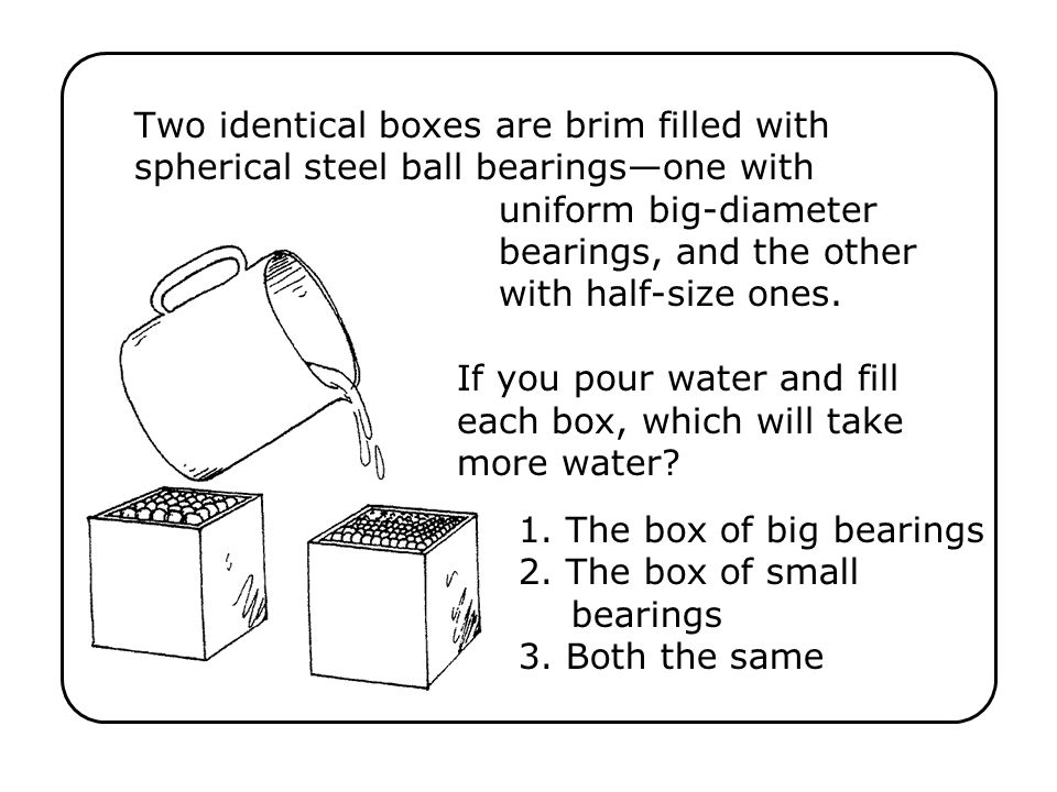 Two identical boxes are brim filled with spherical steel ball bearingsone with uniform big-diameter bearings, and the other with half-size ones.