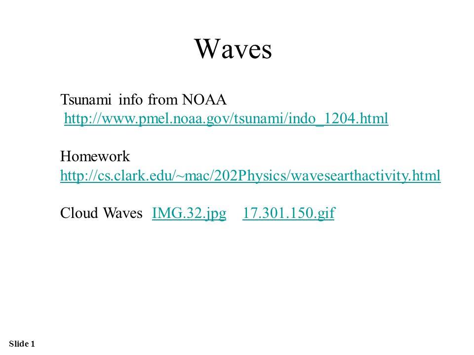 Slide 1 Waves Tsunami info from NOAA http://www.pmel.noaa.gov/tsunami/indo_1204.html Homework http://cs.clark.edu/~mac/202Physics/wavesearthactivity.html Cloud Waves IMG.32.jpg 17.301.150.gifIMG.32.jpg17.301.150.gif