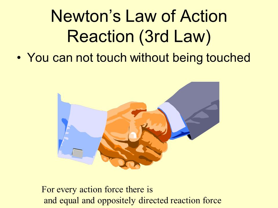 Newtons Law of Action Reaction (3rd Law) You can not touch without being touched For every action force there is and equal and oppositely directed rea