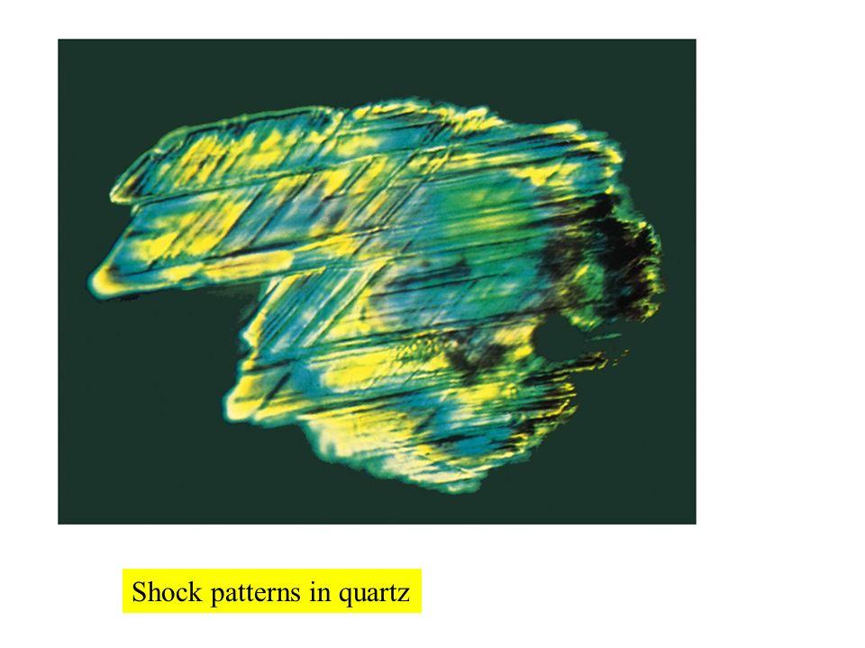 Shock patterns in quartz