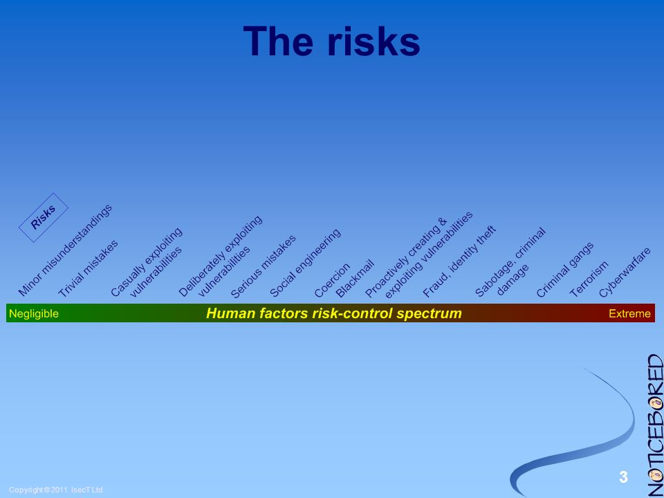 4 Copyright © 2011 IsecT Ltd. Low-end risk
