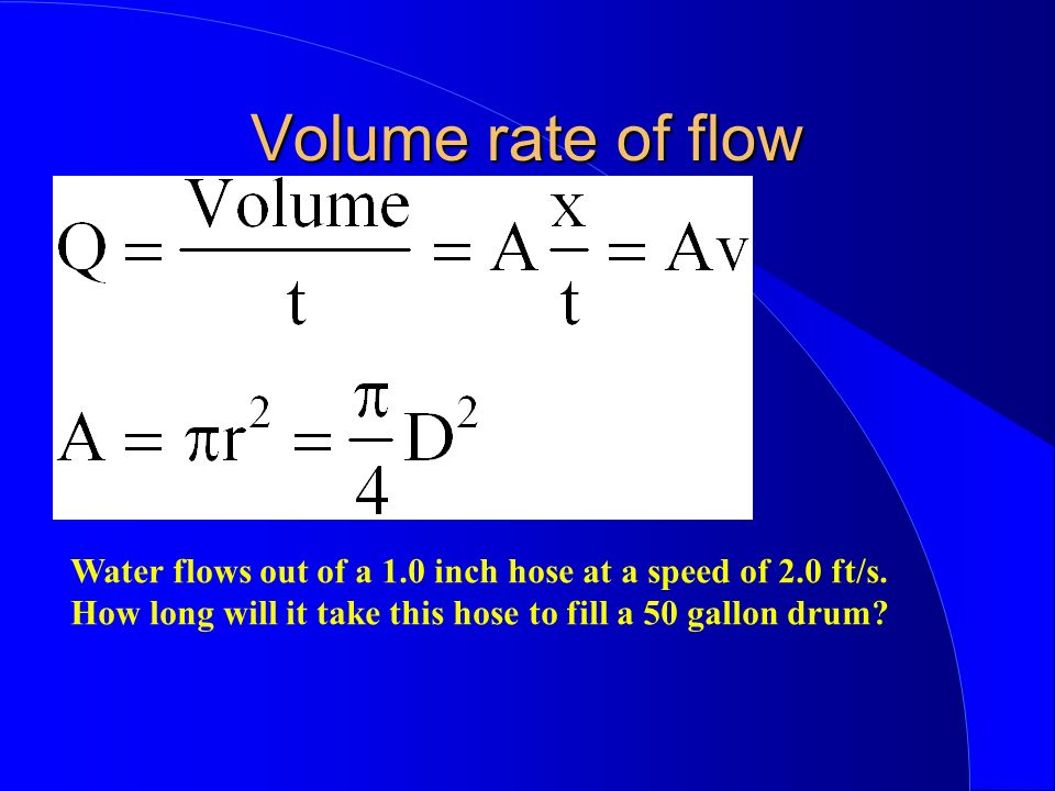 Volume rate of flow Water flows out of a 1.0 inch hose at a speed of 2.0 ft/s.