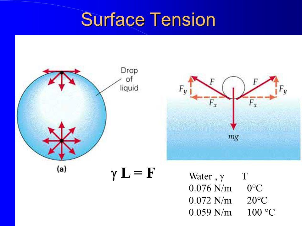 Surface Tension L = F Water, T 0.076 N/m 0°C 0.072 N/m 20°C 0.059 N/m 100 °C