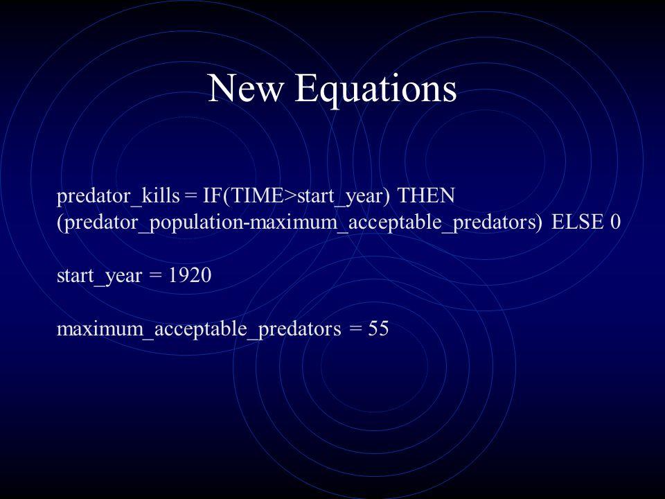 New Equations predator_kills = IF(TIME>start_year) THEN (predator_population-maximum_acceptable_predators) ELSE 0 start_year = 1920 maximum_acceptable