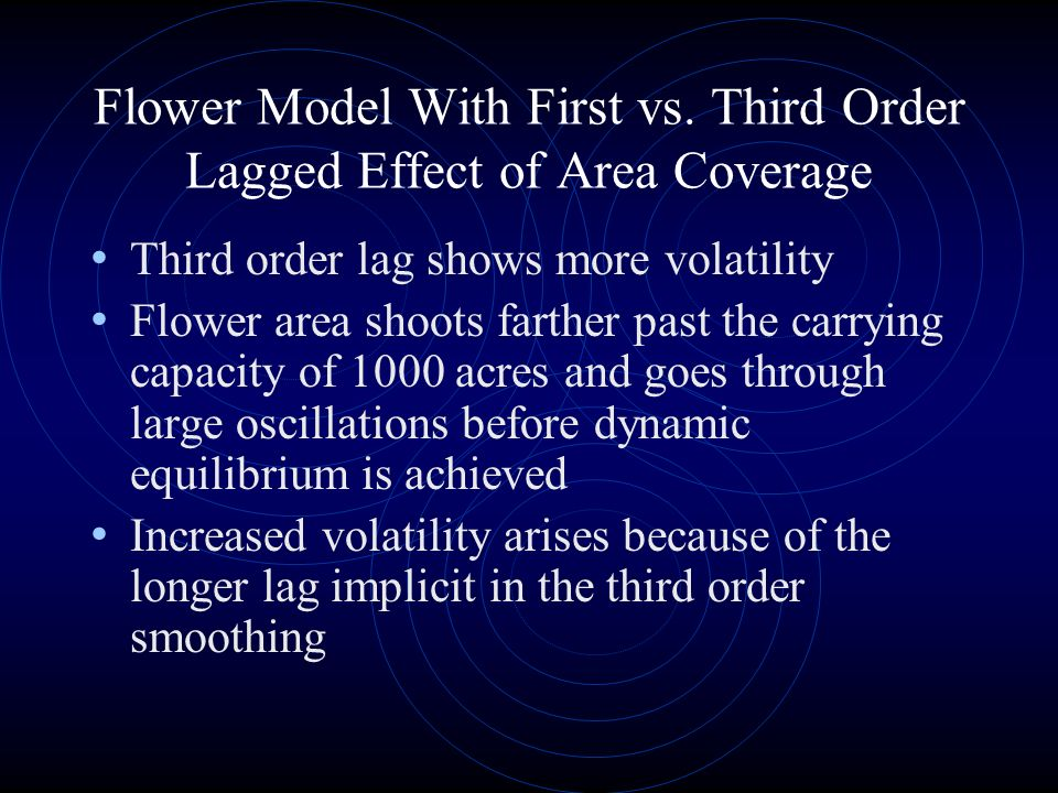 Third order lag shows more volatility Flower area shoots farther past the carrying capacity of 1000 acres and goes through large oscillations before dynamic equilibrium is achieved Increased volatility arises because of the longer lag implicit in the third order smoothing