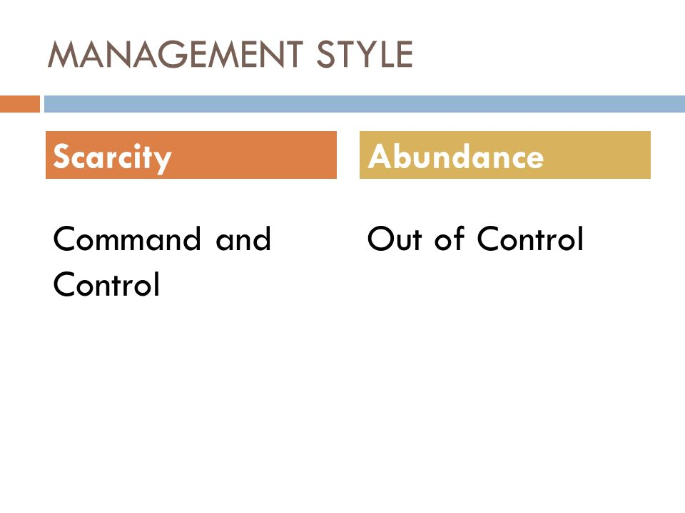 MANAGEMENT STYLE Command and Control Out of Control ScarcityAbundance