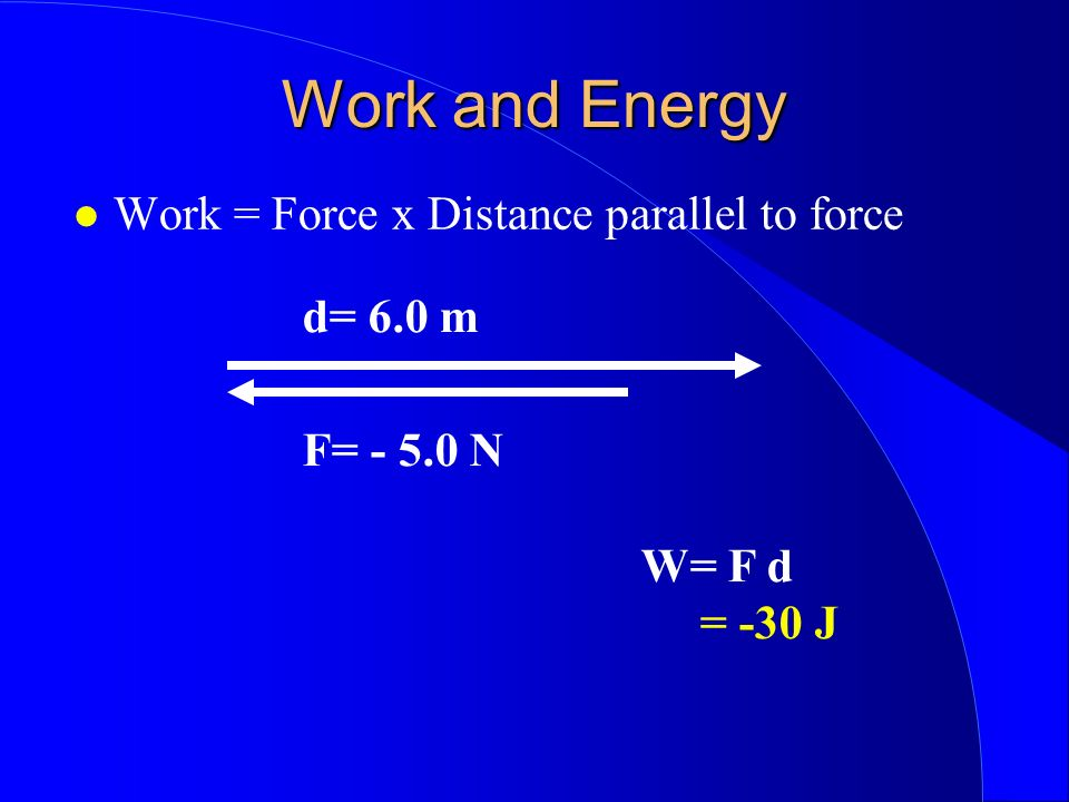 Work and Energy Work = Force x Distance parallel to force d= 6.0 m F= - 5.0 N W= F d = -30 J