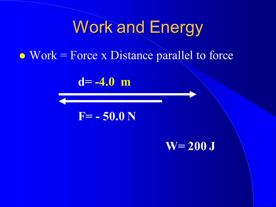 Work and Energy Work = Force x Distance parallel to force d= -4.0 m F= - 50.0 N W= 200 J
