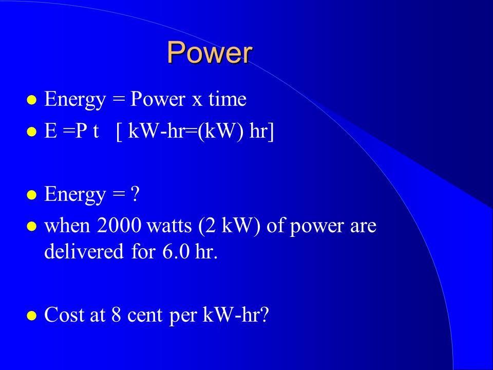 Power Energy = Power x time E =P t [ kW-hr=(kW) hr] Energy = .