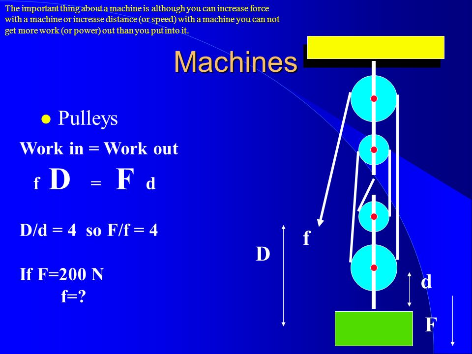 Machines Pulleys D d f F Work in = Work out f D = F d D/d = 4 so F/f = 4 If F=200 N f=.