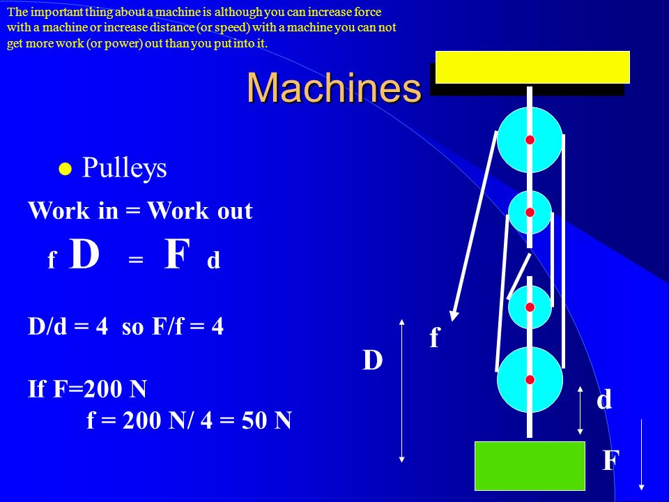 Machines Pulleys D d f F Work in = Work out f D = F d D/d = 4 so F/f = 4 If F=200 N f = 200 N/ 4 = 50 N The important thing about a machine is although you can increase force with a machine or increase distance (or speed) with a machine you can not get more work (or power) out than you put into it.