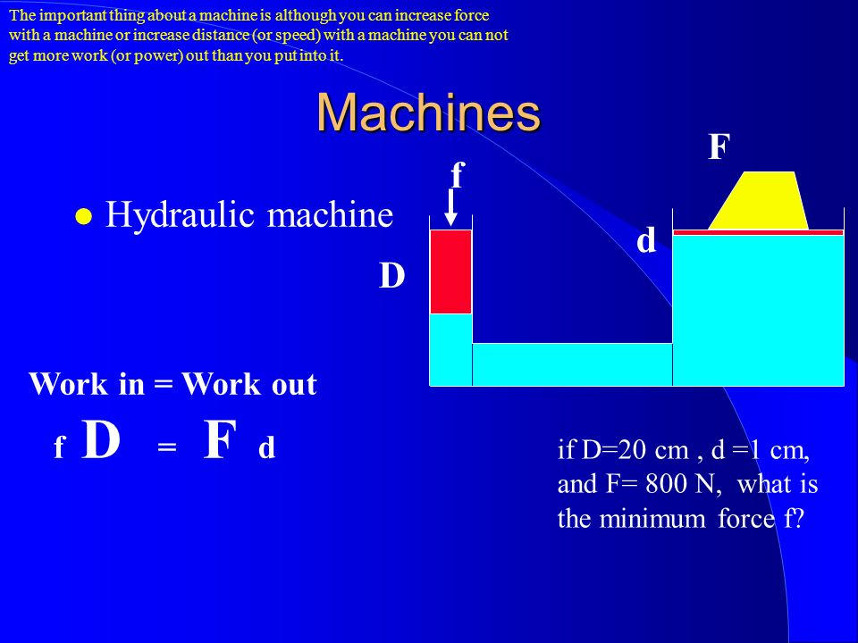 Machines Hydraulic machine D d f F Work in = Work out f D = F d if D=20 cm, d =1 cm, and F= 800 N, what is the minimum force f.