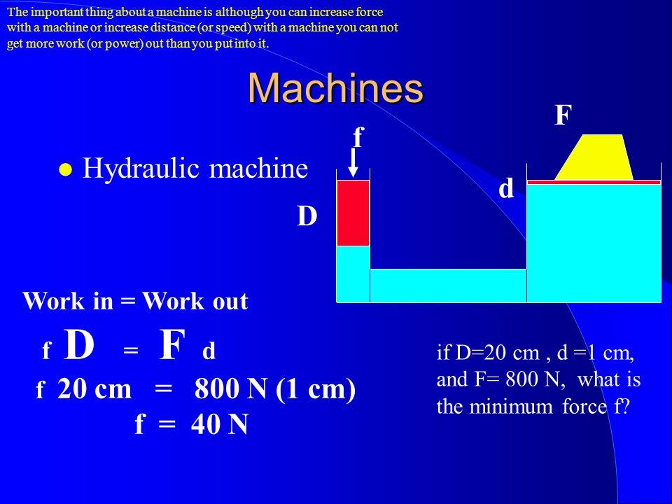 Machines Hydraulic machine D d f F Work in = Work out f D = F d f 20 cm = 800 N (1 cm) f = 40 N if D=20 cm, d =1 cm, and F= 800 N, what is the minimum force f.