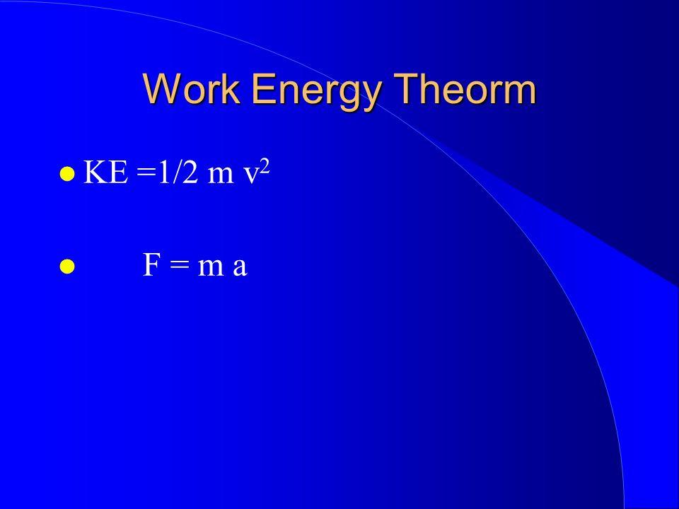 Work Energy Theorm KE =1/2 m v 2 F = m a