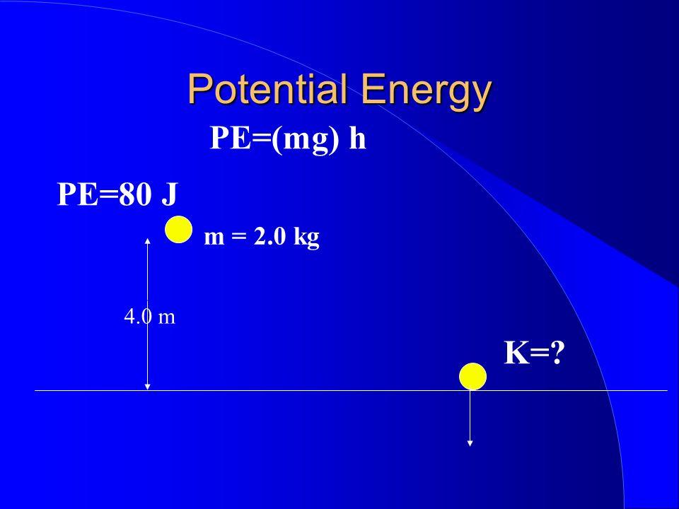 Potential Energy PE=(mg) h 4.0 m m = 2.0 kg K=? PE=80 J