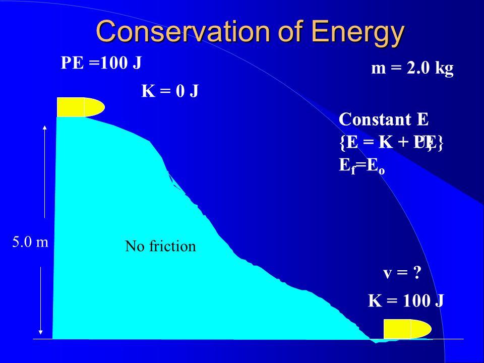 Conservation of Energy 5.0 m m = 2.0 kg K = 0 J PE =100 J v = ? K = 100 J Constant E {E = K + U} Constant E {E = K + PE} E f =E o No friction