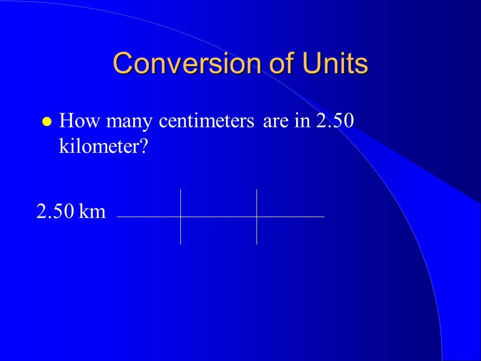 Conversion of Units How many centimeters are in 2.50 kilometer? 2.50 km 1000m 1.00 km