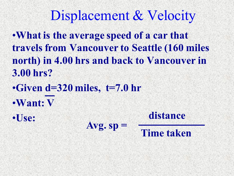 Displacement & Velocity What is the average speed of a car that travels from Vancouver to Seattle (160 miles north) in 4.00 hrs and back to Vancouver