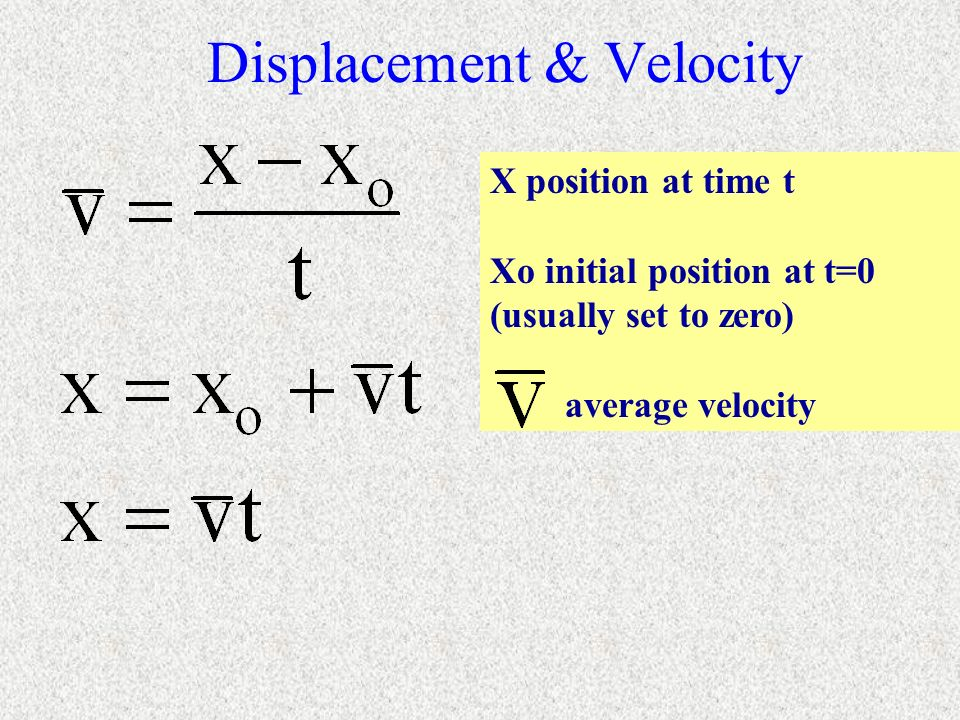 Displacement & Velocity X position at time t Xo initial position at t=0 (usually set to zero) average velocity