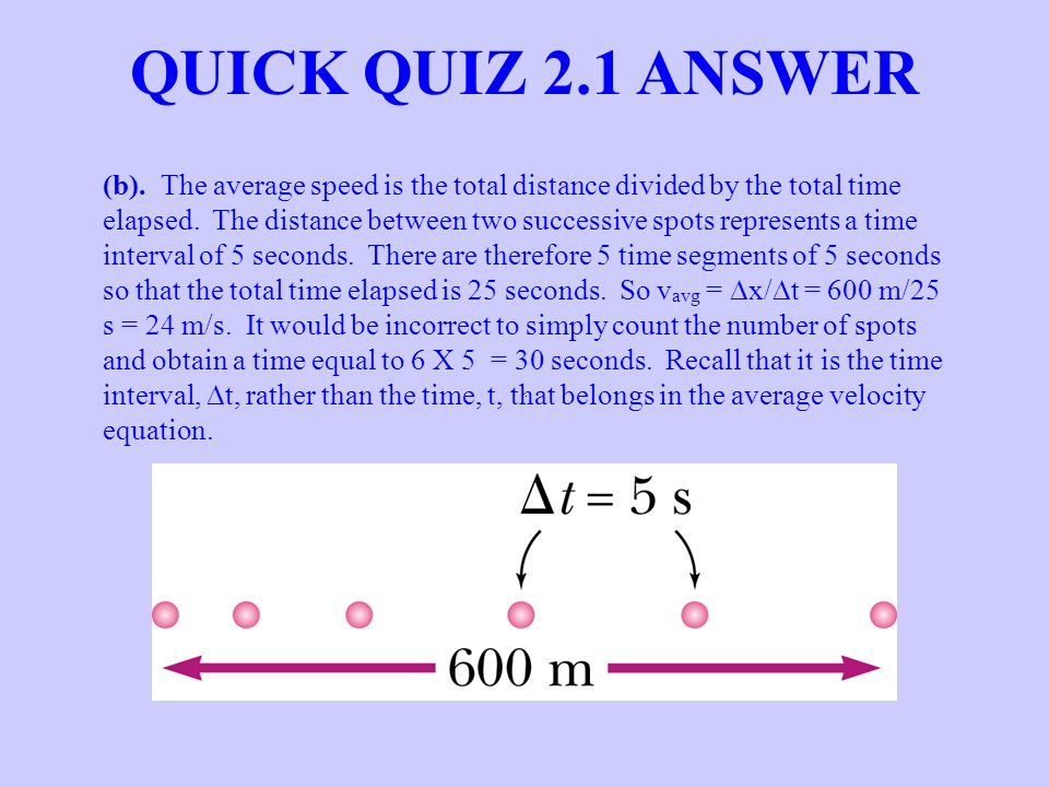 (b). The average speed is the total distance divided by the total time elapsed. The distance between two successive spots represents a time interval o