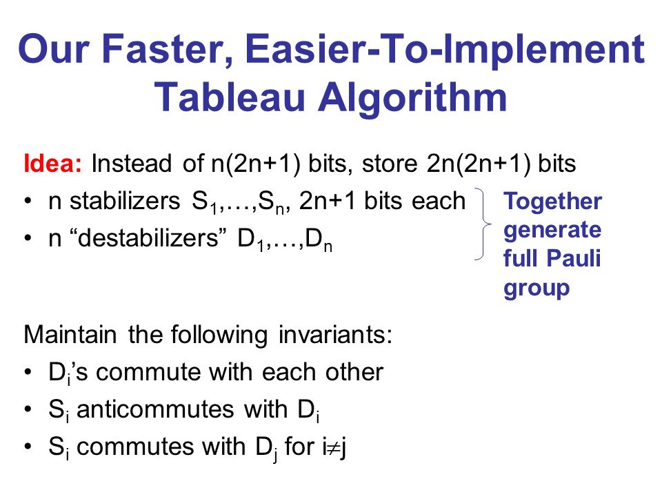 Our Faster, Easier-To-Implement Tableau Algorithm Idea: Instead of n(2n+1) bits, store 2n(2n+1) bits n stabilizers S 1,…,S n, 2n+1 bits each n destabilizers D 1,…,D n Together generate full Pauli group Maintain the following invariants: D i s commute with each other S i anticommutes with D i S i commutes with D j for i j