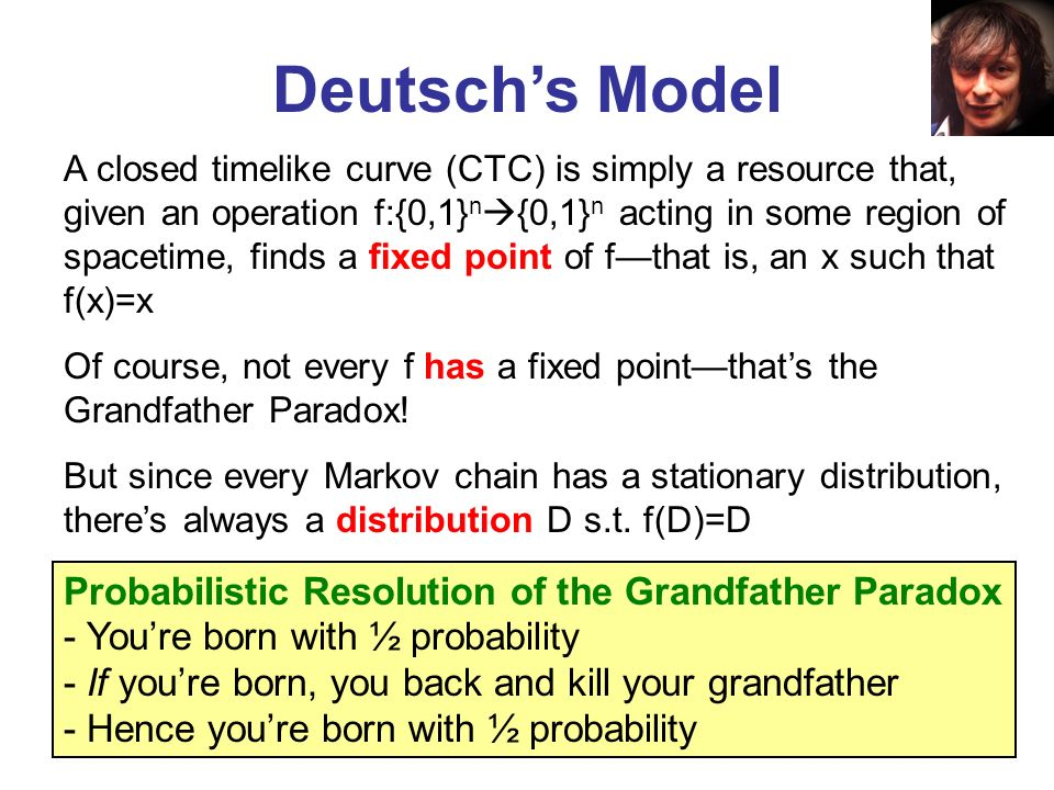Deutschs Model A closed timelike curve (CTC) is simply a resource that, given an operation f:{0,1} n {0,1} n acting in some region of spacetime, finds