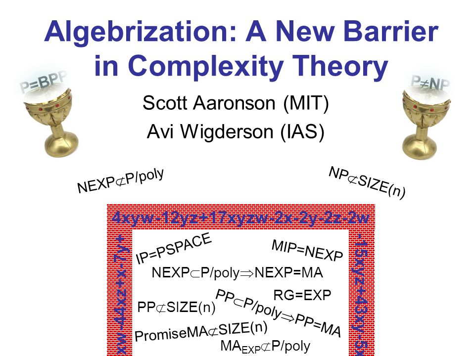 Algebrization: A New Barrier in Complexity Theory Scott Aaronson (MIT) Avi Wigderson (IAS) 4xyw-12yz+17xyzw-2x-2y-2z-2w IP=PSPACE MA EXP P/poly MIP=NEXP PP SIZE(n) PromiseMA SIZE(n) PP P/poly PP=MA NEXP P/poly NEXP=MA RG=EXP NEXP P/poly NP SIZE(n) -15xyz+43xy-5x 13xw-44xz+x-7y+ P NP P=BPP
