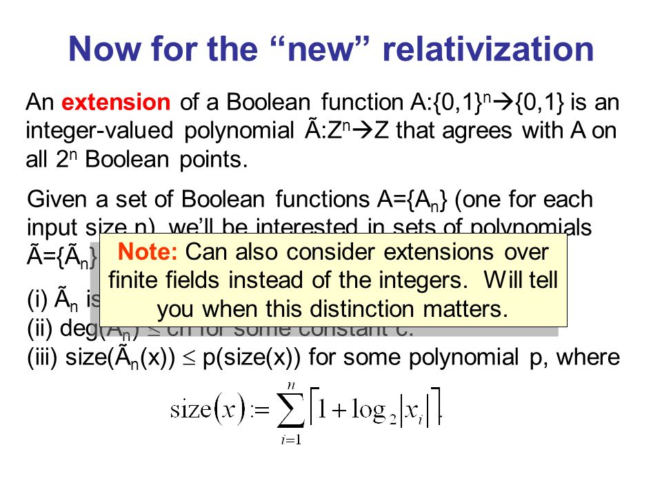 An extension of a Boolean function A:{0,1} n {0,1} is an integer-valued polynomial Ã:Z n Z that agrees with A on all 2 n Boolean points.