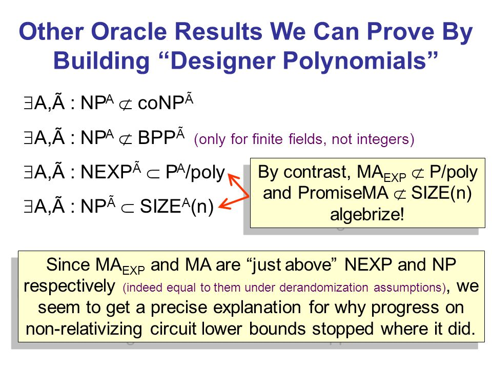 Other Oracle Results We Can Prove By Building Designer Polynomials A,Ã : NP A coNP Ã A,Ã : NP A BPP Ã (only for finite fields, not integers) A,Ã : NEXP Ã P A /poly A,Ã : NP Ã SIZE A (n) By contrast, MA EXP P/poly and PromiseMA SIZE(n) algebrize.