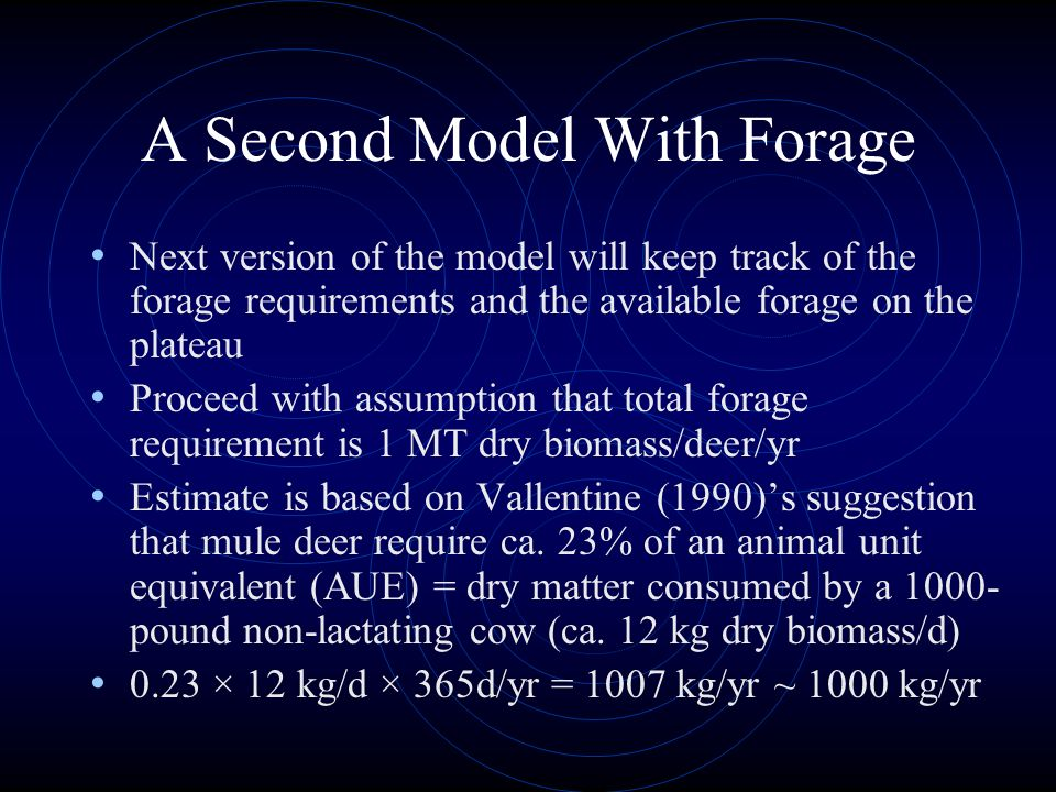 A Second Model With Forage Next version of the model will keep track of the forage requirements and the available forage on the plateau Proceed with a