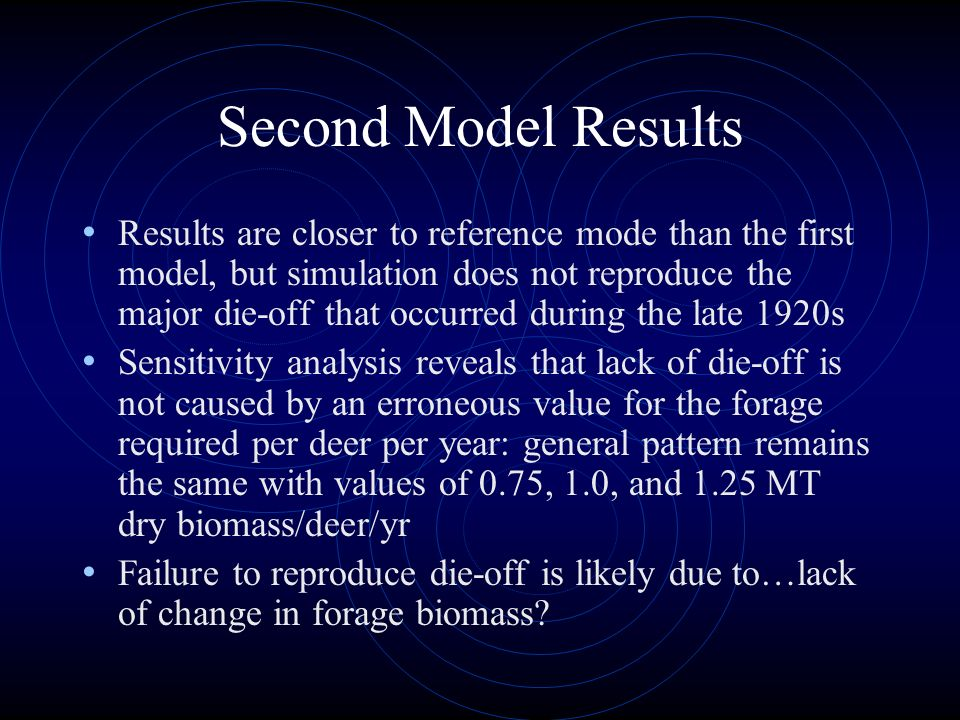 Results are closer to reference mode than the first model, but simulation does not reproduce the major die-off that occurred during the late 1920s Sen