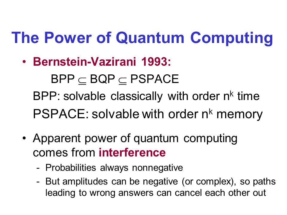 The Power of Quantum Computing Bernstein-Vazirani 1993: BPP BQP PSPACE BPP: solvable classically with order n k time PSPACE: solvable with order n k m