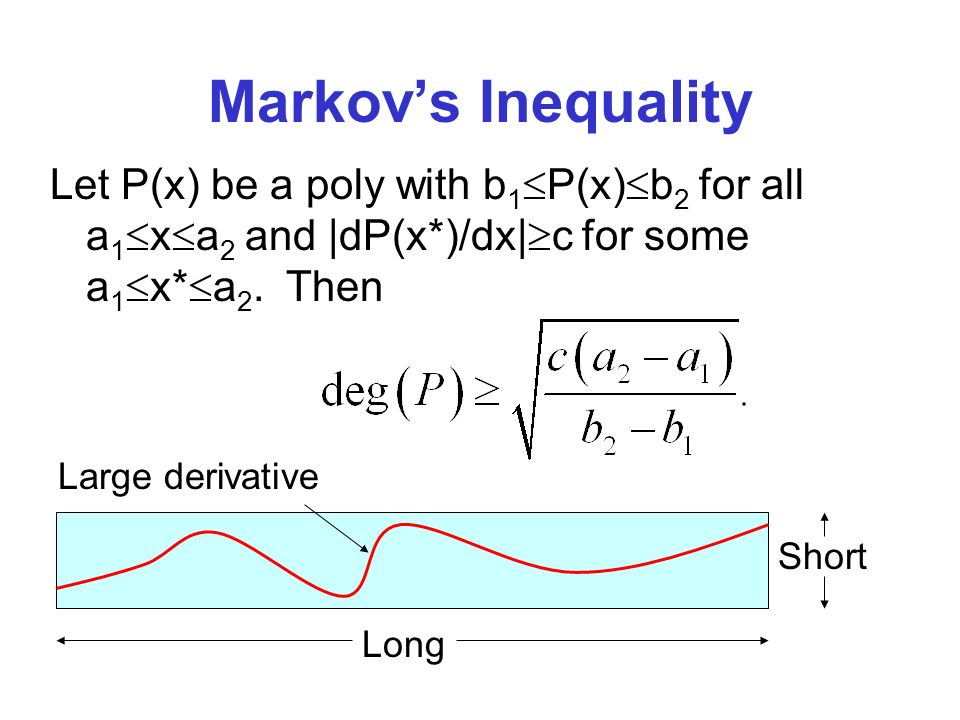 Markovs Inequality Let P(x) be a poly with b 1 P(x) b 2 for all a 1 x a 2 and |dP(x*)/dx| c for some a 1 x* a 2.