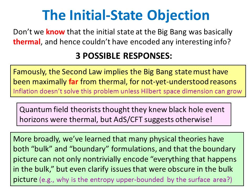 The Initial-State Objection Dont we know that the initial state at the Big Bang was basically thermal, and hence couldnt have encoded any interesting info.