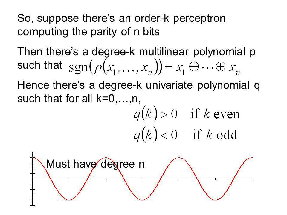 So, suppose theres an order-k perceptron computing the parity of n bits Then theres a degree-k multilinear polynomial p such that Hence theres a degree-k univariate polynomial q such that for all k=0,…,n, Must have degree n